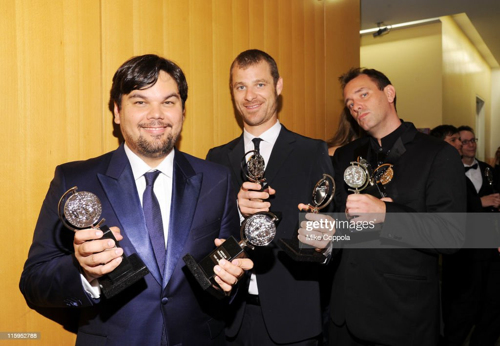 Robert Lopez, Matt Stone, and Trey Parker pose with the award for Best Musical in the press room the press room during the 65th Annual Tony Awards at the The Jewish Community Center in Manhattan on June 12, 2011 in New York City.
