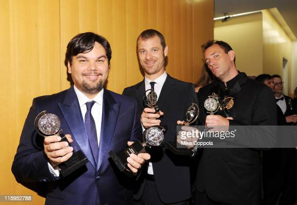 Robert Lopez Matt Stone and Trey Parker pose with the award for Best Musical in the press room the press room during the 65th Annual Tony Awards at...
