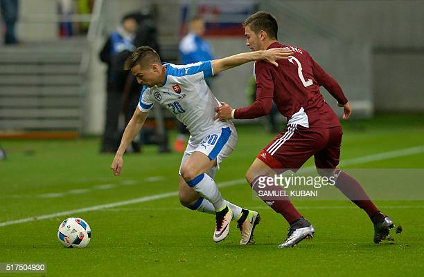 Robert Mak of Slovakia and Vitalijs Maksimenko of Latvia vie for the ball during the friendly football match between Slovakia and Latvia at the City...