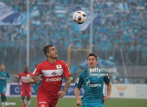 Robert Mak of Zenit StPetersburg in action against Mauricio of Spartak Moscow during Russian Footbal PremiereLeague football match between Zenit...