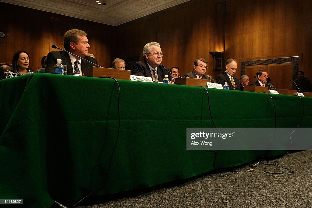 Robert Malone, Chairman and President of BP America Inc.; John Hofmeister, President of Shell Oil Company; Peter Robertson, Vice Chairman of the Board of Chevron Corporation; John Lowe, Executive Vice President of ConocoPhillips Company; and Stephen Simon, Senior Vice President of Exxon Mobile Corporation, testify during a hearing before the Senate Judiciary Committee May 21, 2008 on Capitol Hill in Washington, DC. The hearing was to address the skyrocketing price of oil. Today prices of crude-oil surged to another record high of $132.00 USD a barrel.