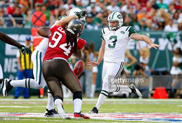Robert Malone of the New York Jets in action against the Tampa Bay Buccaneers on September 8 2013 at MetLife Stadium in East Rutherford New Jersey...