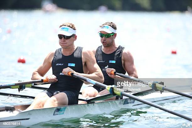 Robert Manson and Chris Harris of New Zealand compete in the Men's Double Sculls Semifinal during Day 2 of the 2015 World Rowing Cup III on Lucerne...