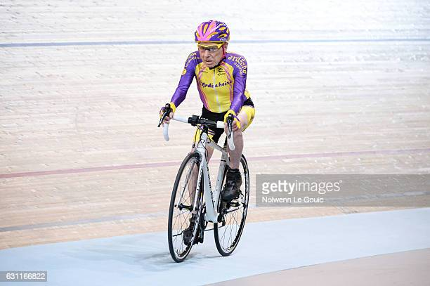 Robert Marchand during his attempt to break his own world cycling record at the age of 105 taking part in a onehour cycling event in the Masters 100...