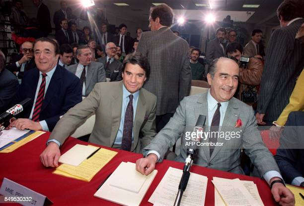 Robert Maxwell chairman of Maxwell company Bernard Tapie chairman of Tapie group and Francis Bouygues candidate for the control of the Stateowned TF1...