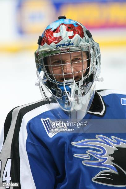 Robert Mayer of the Saint John Sea Dogs looks on before the CHL Top Prospects Game Skill Competition on February 4 2008 at Rexall Place in Edmonton...