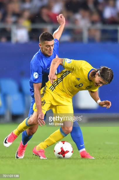 Robert Mazan Kristoffer Olsson during the UEFA European Under21 match between Slovakia and Sweden at Arena Lublin on June 22 2017 in Lublin Poland