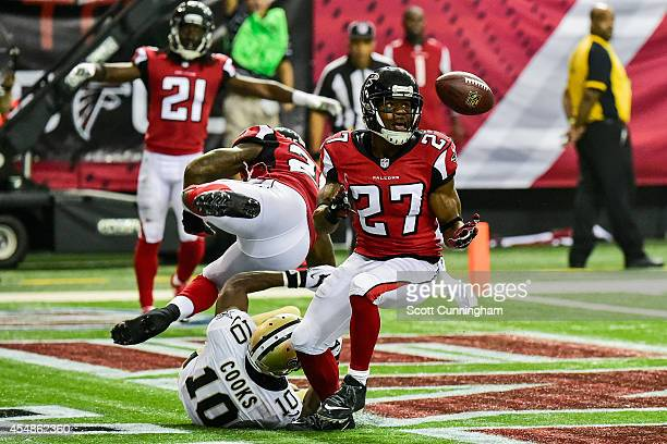 Robert McClain of the Atlanta Falcons intercepts a touchdown intended for Brandin Cooks of the New Orleans Saints in the second half at the Georgia...