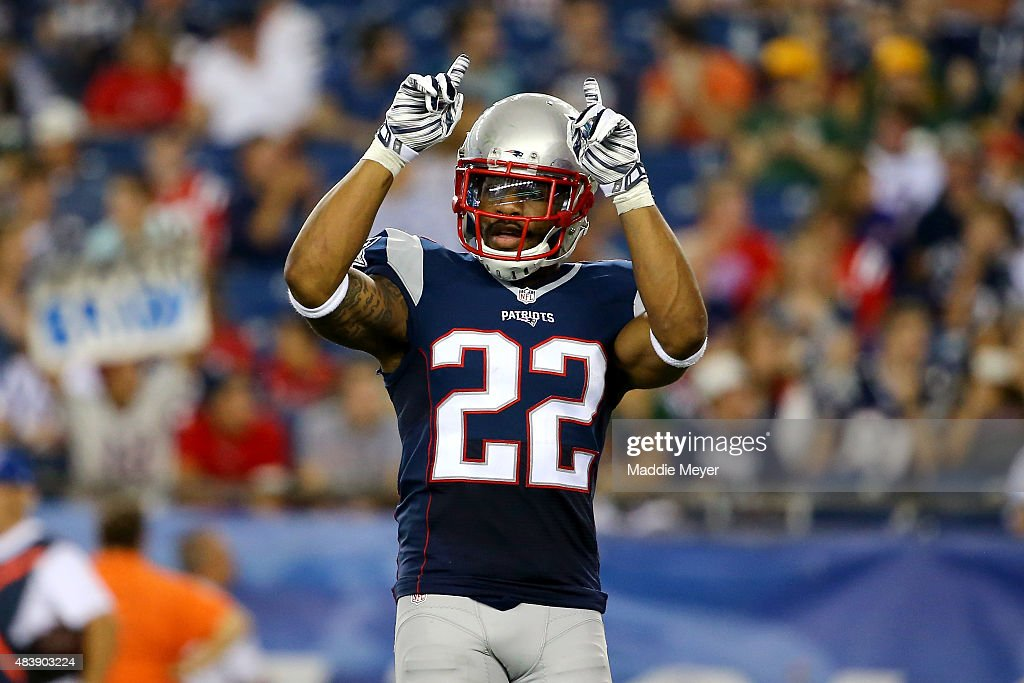 Robert McClain #22 of the New England Patriots reacts after a play in the third quarter against the Green Bay Packers during a preseason game at Gillette Stadium on August 13, 2015 in Foxboro, Massachusetts.