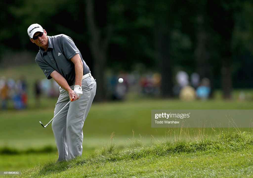 Robert McClellan takes a shot on the 17th fairway during the first round of the Greenbrier Classic at the Old White TPC on July 3, 2014 in White Sulphur Springs, West Virginia.