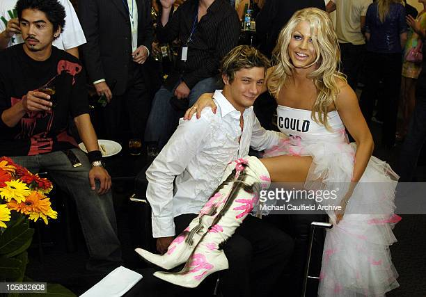 Robert Mills and Courtney Act during 2005 MTV Australia Video Music Awards Green Room at Big Top Luna Park in Sydney New South Wales Australia