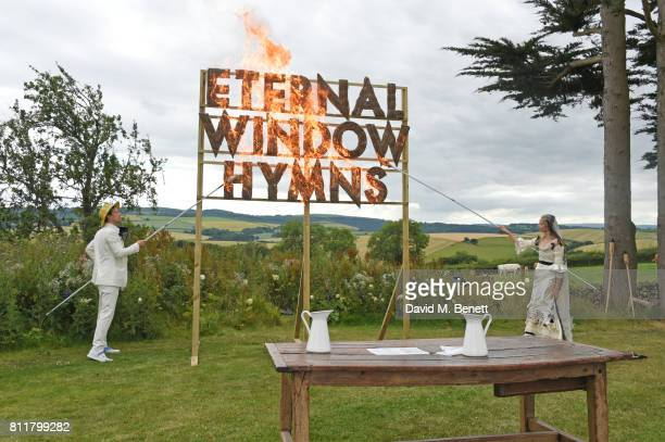 Robert Montgomery and Greta Bellamacina attend their wedding on July 8 2017 in Exeter England
