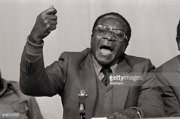 Robert Mugabe coleader of the Patriotic Front Guerrilla Alliance talks to newsman December 17 at a press conference held to announce agreement on a...