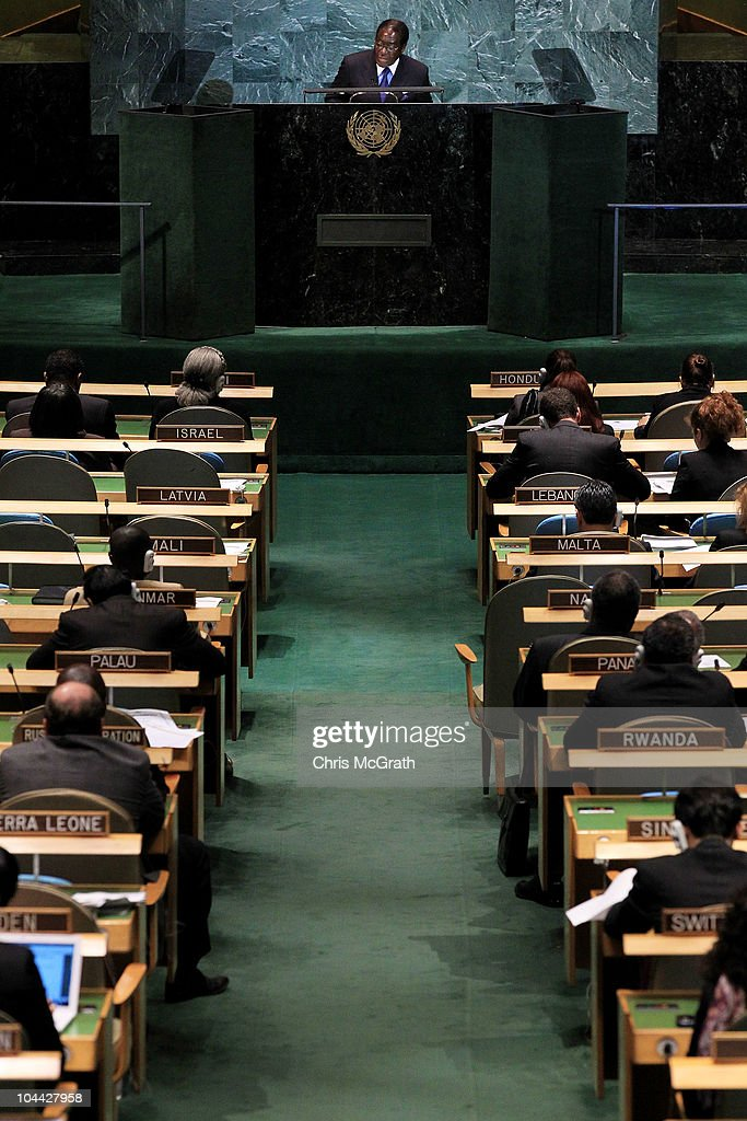 Robert Mugabe, President of the Republic of Zimbabwe addresses the 65th session of the General Assembly at the United Nations on September 24, 2010 in New York City. Leaders and diplomats from around the world are in New York City for the United Nations yearly General Assembly.