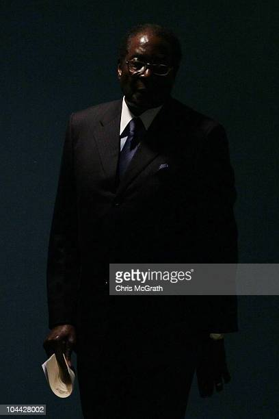 Robert Mugabe President of the Republic of Zimbabwe arrives to address the 65th session of the General Assembly at the United Nations on September 24...