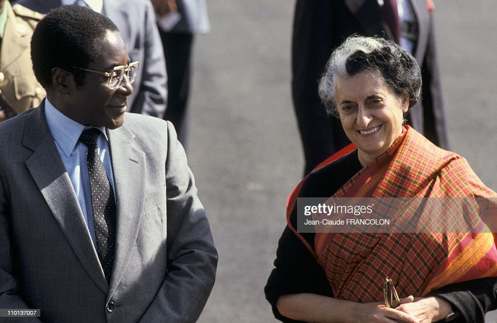 <a gi-track='captionPersonalityLinkClicked' href=/galleries/search?phrase=Robert+Mugabe&family=editorial&specificpeople=214676 ng-click='$event.stopPropagation()'>Robert Mugabe</a>,President of Zimbabwe and Indian Prime Minister <a gi-track='captionPersonalityLinkClicked' href=/galleries/search?phrase=Indira+Gandhi&family=editorial&specificpeople=91137 ng-click='$event.stopPropagation()'>Indira Gandhi</a> at the Summit of Non Aligned in New delhi,India on July 3rd,1983.