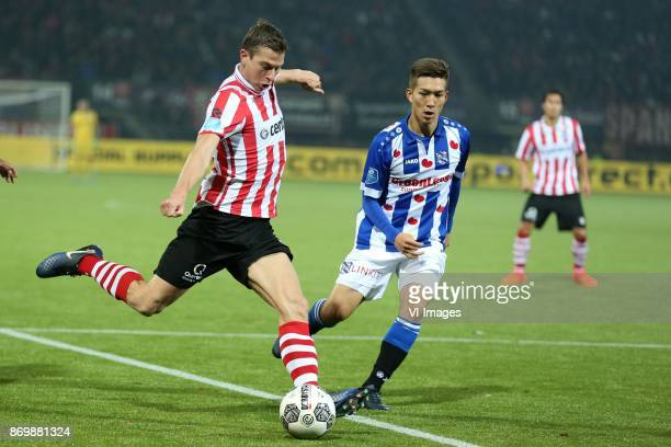 Robert Muhren of Sparta Rotterdam Yuki Kobayashi of sc Heerenveen during the Dutch Eredivisie match between Sparta Rotterdam and sc Heerenveen at the...