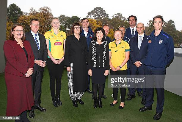Robert Murphy AFL Kate Jenkins Australia's Sex Discrimination Commissioner Ruan Sims NRL Laura Waldie ARU Bill Pulver CEO ARU Mary Barry CEO Our...