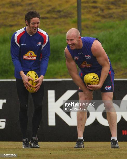 Robert Murphy and Barry Hall of the Bulldogs laugh during a Western Bulldogs AFL media session at Whitten Oval on September 1 2010 in Melbourne...