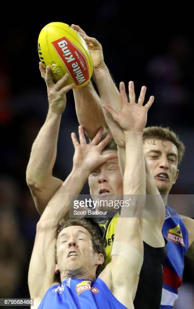 Robert Murphy of the Bulldogs and Jack Riewoldt of the Tigers compete for the ball during the round seven AFL match between the Western Bulldogs and...