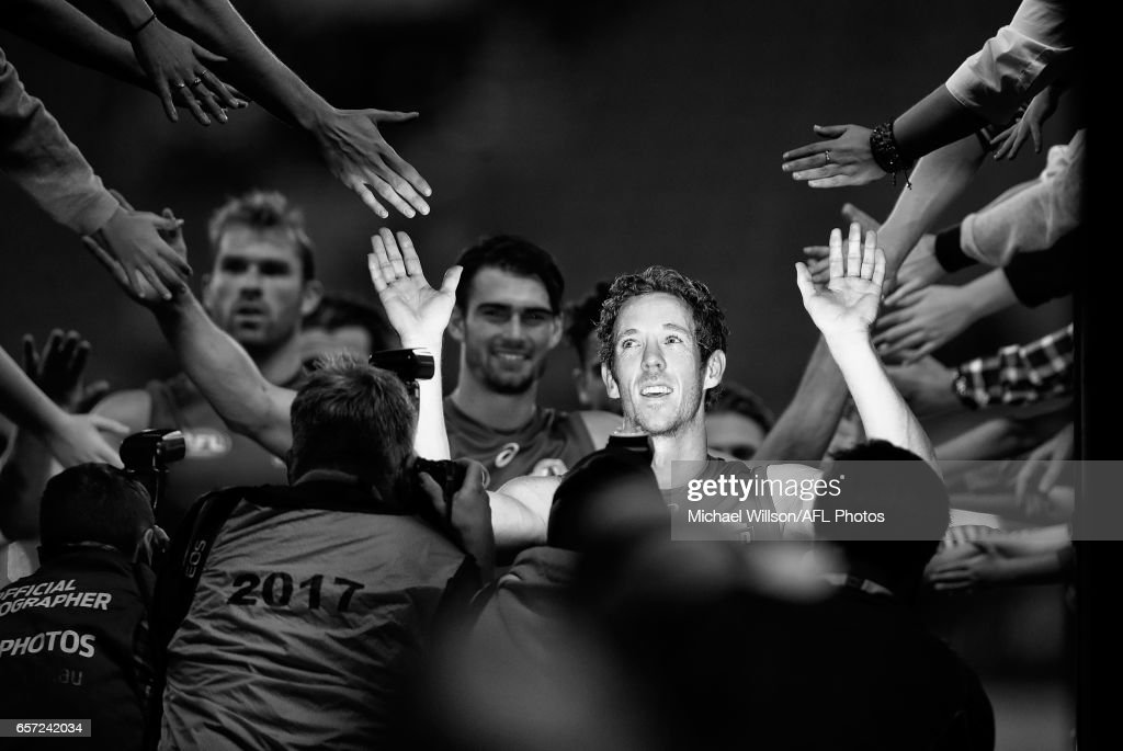Robert Murphy of the Bulldogs celebrates after the 2017 AFL round 01 match between the Collingwood Magpies and the Western Bulldogs at the Melbourne Cricket Ground on March 24, 2017 in Melbourne, Australia.