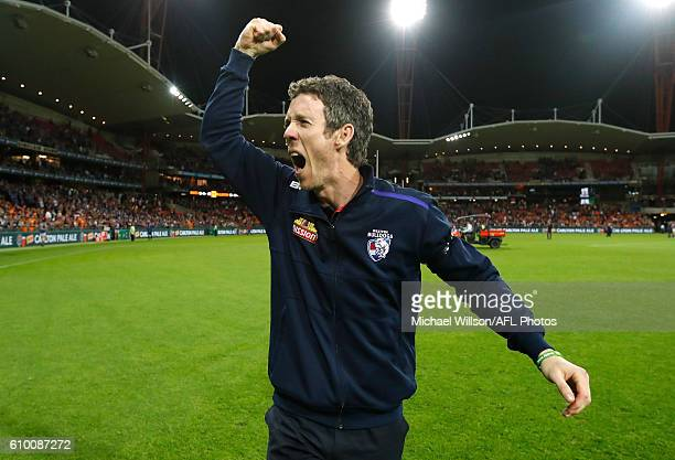 Robert Murphy of the Bulldogs celebrates during the 2016 AFL First Preliminary Final match between the GWS Giants and the Western Bulldogs at...