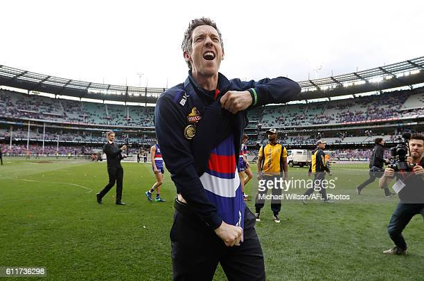Robert Murphy of the Bulldogs celebrates during the 2016 Toyota AFL Grand Final match between the Sydney Swans and the Western Bulldogs at the...