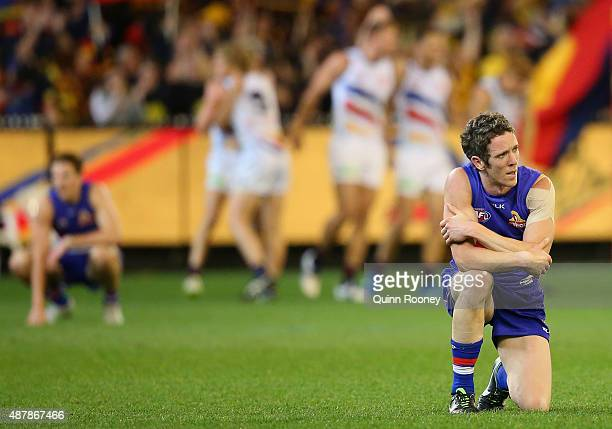 Robert Murphy of the Bulldogs looks dejected after losing the AFL Second Elimination Final match between the Western Bulldogs and the Adelaide Crows...