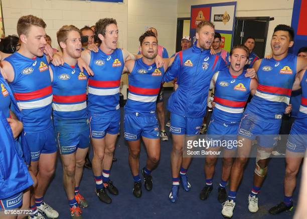 Robert Murphy of the Bulldogs Luke Dahlhaus of the Bulldogs Jake Stringer of the Bulldogs Caleb Daniel of the Bulldogs and Lin Jong of the Bulldogs...