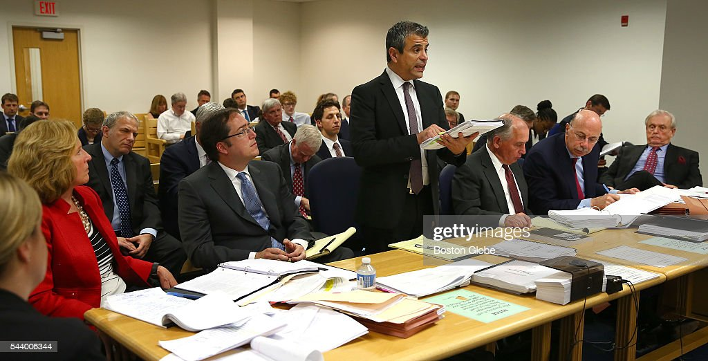 Robert N. Klieger, attorney for Sumner Redstone, center, gives rebuttal testimony before Judge George Phelan, not pictured. Attorneys representing various factions of Sumner Redstone's family argue over who should gain control of his media companies, in Norfolk County Probate Court in Canton, Mass., on June 30, 2016.