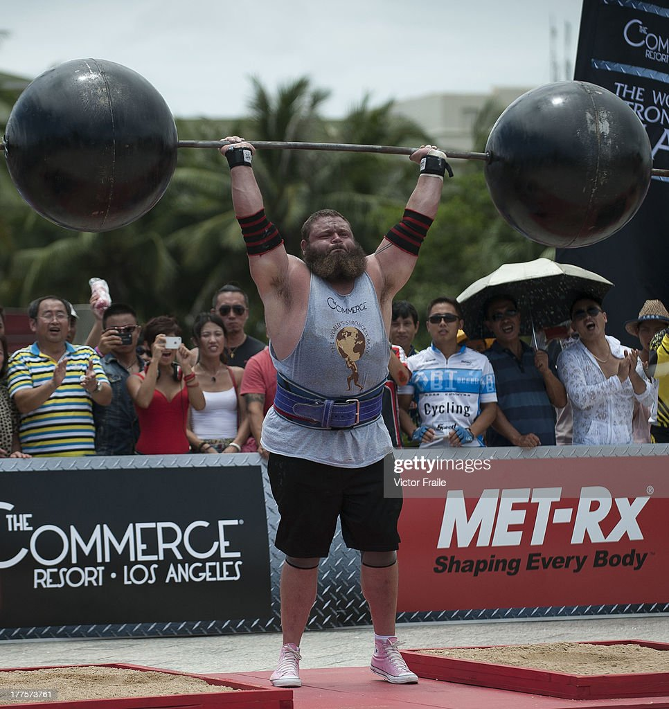 Robert Oberst of USA competes at the Circus Medley event during the World's Strongest Man competition at Yalong Bay Cultural Square on August 24, 2013 in Hainan Island, China.
