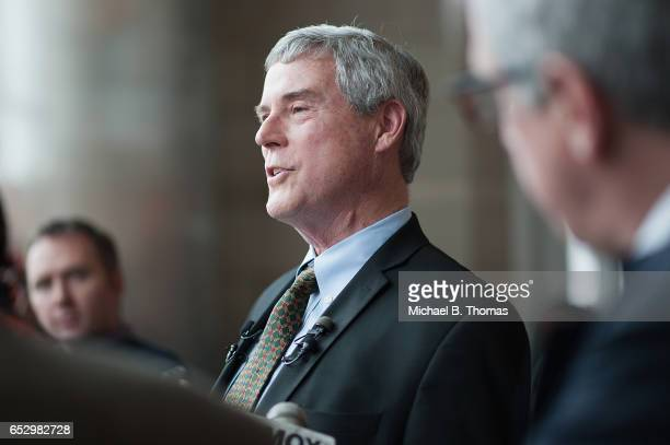Robert P 'Bob' McCulloch Prosecuting Attorney for St Louis County speaks to the media during a news conference on March 13 2017 in Clayton Missouri...