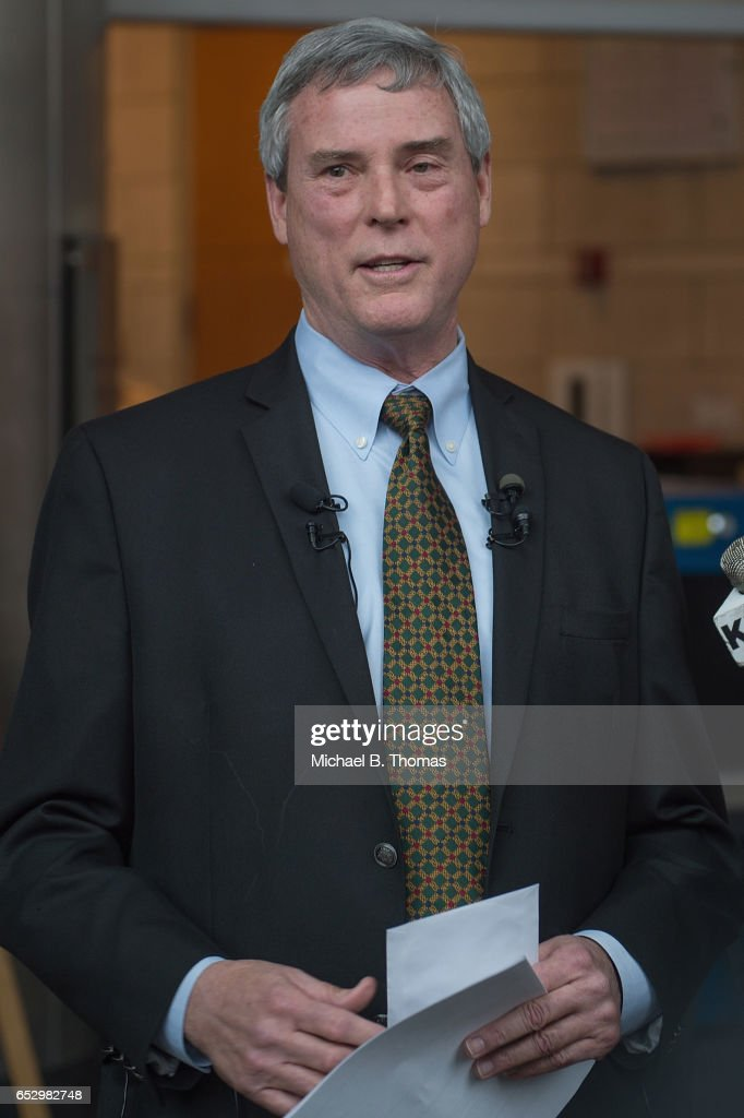 Robert P. 'Bob' McCulloch, Prosecuting Attorney for St. Louis County speaks to the media during a news conference on March 13, 2017 in Clayton, Missouri. Tension and protest in Ferguson has arisen in response to video footage of slain 18 year-old Michael Brown in a recent documentary.