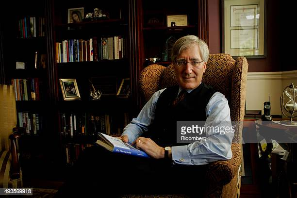 Robert P George conservative scholar and professor of politics at Princeton University sits for a photograph at his office in Princeton New Jersey US...