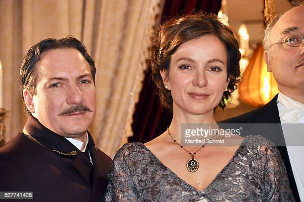 Robert Palfrader and Julia Koschitz pose during a photo call for the film 'Sacher' at Hotel Sacher on May 3 2016 in Vienna Austria