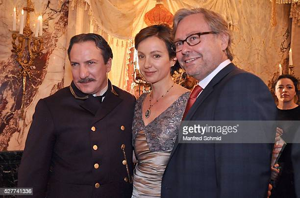 Robert Palfrader Julia Koschitz and Alexander Wrabetz pose during a photo call for the film 'Sacher' at Hotel Sacher on May 3 2016 in Vienna Austria