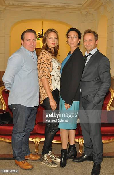 Robert Palfrader Patricia Aulitzky Ursula Strauss and Maximilian Brueckner pose during the 'Pregau Kein Weg Zurueck' Vienna presentation at Albert...