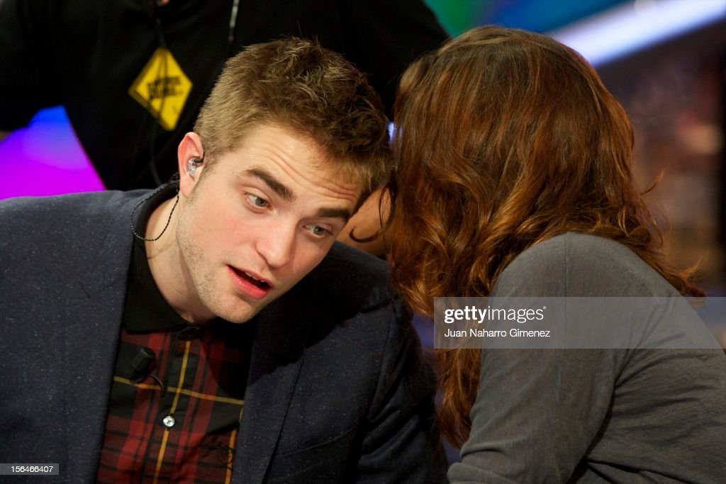 <a gi-track='captionPersonalityLinkClicked' href=/galleries/search?phrase=Robert+Pattinson&family=editorial&specificpeople=734445 ng-click='$event.stopPropagation()'>Robert Pattinson</a> and <a gi-track='captionPersonalityLinkClicked' href=/galleries/search?phrase=Kristen+Stewart&family=editorial&specificpeople=2166264 ng-click='$event.stopPropagation()'>Kristen Stewart</a> attend 'El Hormiguero' Tv show at Vertice Studio on November 15, 2012 in Madrid, Spain.