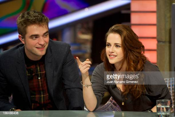 Robert Pattinson and Kristen Stewart attend 'El Hormiguero' Tv show at Vertice Studio on November 15 2012 in Madrid Spain