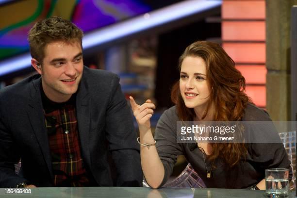Robert Pattinson and Kristen Stewart attend 'El Hormiguero' Tv show at Vertice Studio on November 15 2012 in Madrid Spain