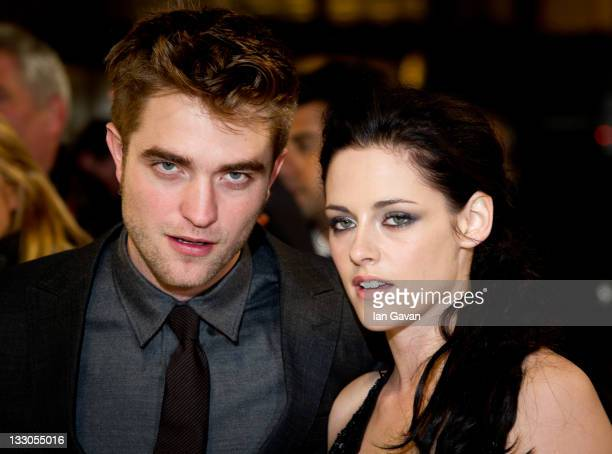 Robert Pattinson and Kristen Stewart attend the UK premiere of The Twilight Saga Breaking Dawn Part 1 at Westfield Stratford City on November 16 2011...