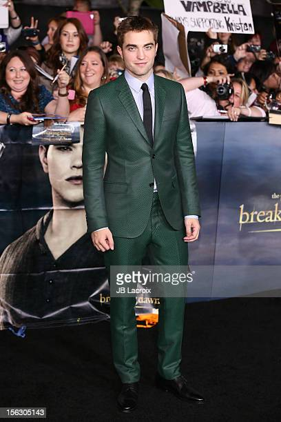 Robert Pattinson arrives at the 'The Twilight Saga Breaking Dawn Part 2' Los Angeles Premiere at Nokia Theatre LA Live on November 12 2012 in Los...
