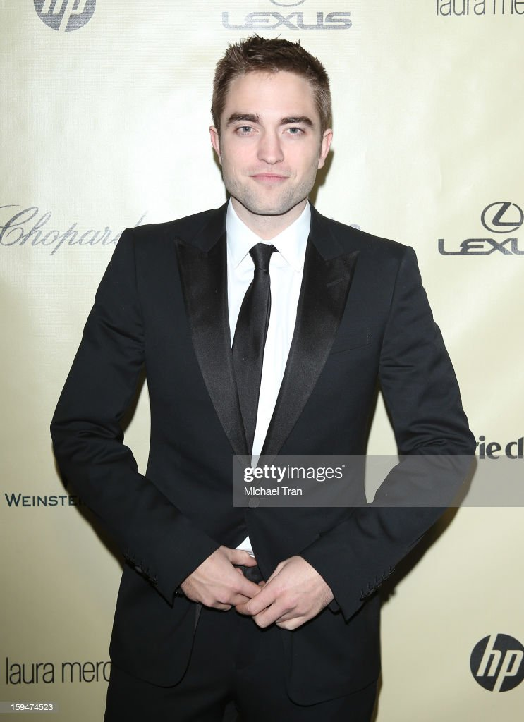 <a gi-track='captionPersonalityLinkClicked' href=/galleries/search?phrase=Robert+Pattinson&family=editorial&specificpeople=734445 ng-click='$event.stopPropagation()'>Robert Pattinson</a> arrives at The Weinstein Company's 2013 Golden Globes after party held at The Beverly Hilton Hotel on January 13, 2013 in Beverly Hills, California.