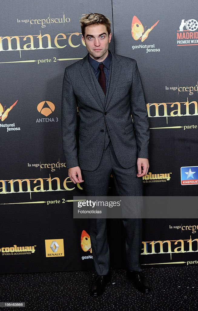 Robert Pattinson attends the premiere of 'The Twilight Saga: Breaking Dawn - Part 2' (La Saga Crepusculo: Amanecer- Parte 2) at kinepolis Cinema on November 15, 2012 in Madrid, Spain.