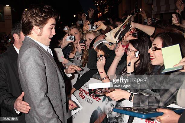 Robert Pattinson attends the UK premiere of Remember Me held at The Odeon Leicester Square on March 17 2010 in London England