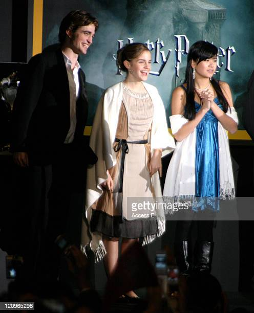Robert Pattinson Emma Watson and Katie Leung during 'Harry Potter and the Goblet of Fire' Tokyo Premiere at Roppongi Hills Arena in Tokyo Japan