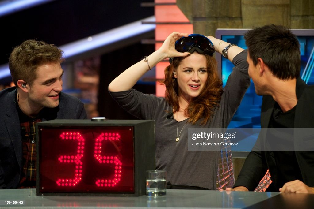 Robert Pattinson, Kristen Stewart and Taylor Lautner attend 'El Hormiguero' Tv show at Vertice Studio on November 15, 2012 in Madrid, Spain.