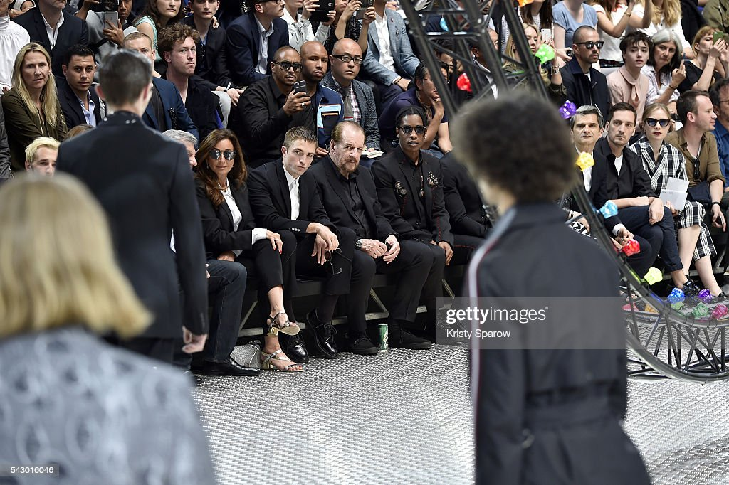 Robert Pattinson (CL), Larry Clark (CR) and ASap Rocky (R) attend the Dior Homme Menswear Spring/Summer 2017 show as part of Paris Fashion Week on June 25, 2016 in Paris, France.