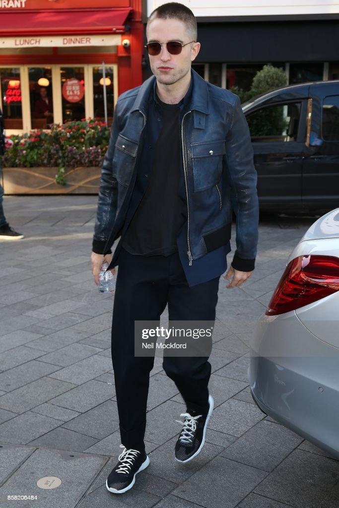 Robert Pattinson seen arriving at Global Radio Studios on October 6, 2017 in London, England.