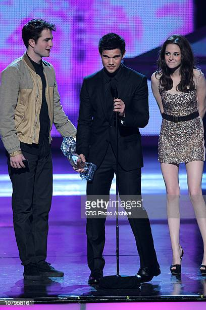 Robert Pattinson Taylor Lautner Kristen Stewart win favorite movie The Twighlight Saga Eclipse at The PEOPLE'S CHOICE AWARDS in which fans honor...